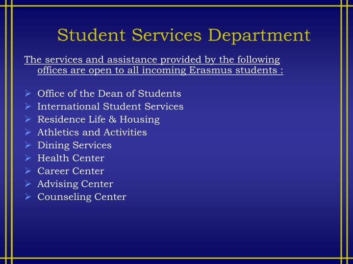 Student Services Department