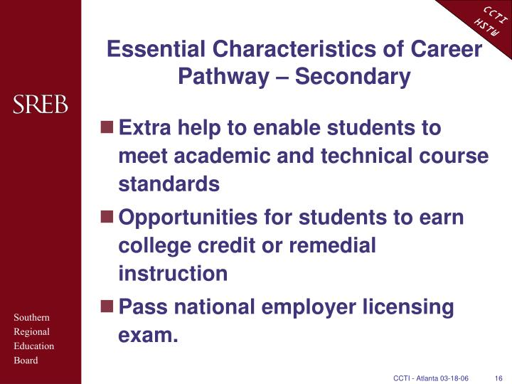 Essential Characteristics of Career Pathway – Secondary
