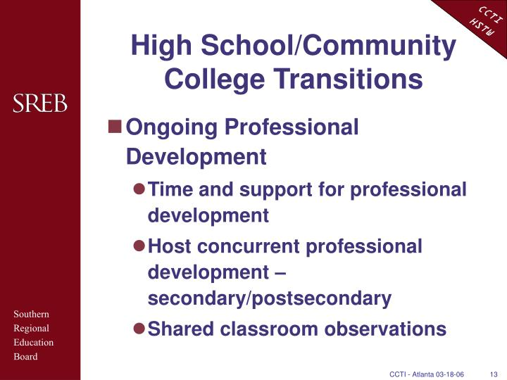 High School/Community College Transitions