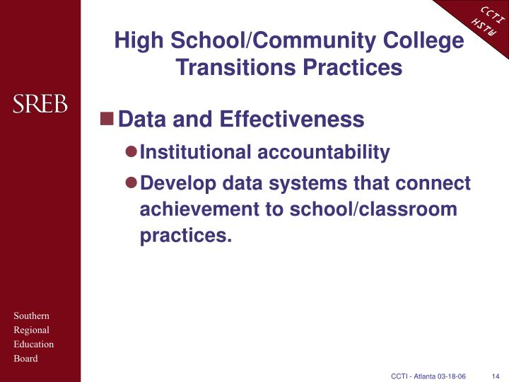 High School/Community College Transitions Practices