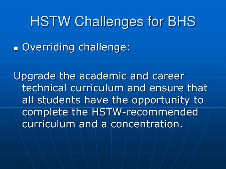 HSTW Challenges for BHS