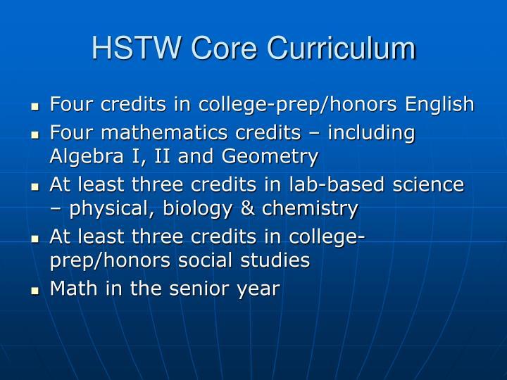 HSTW Core Curriculum