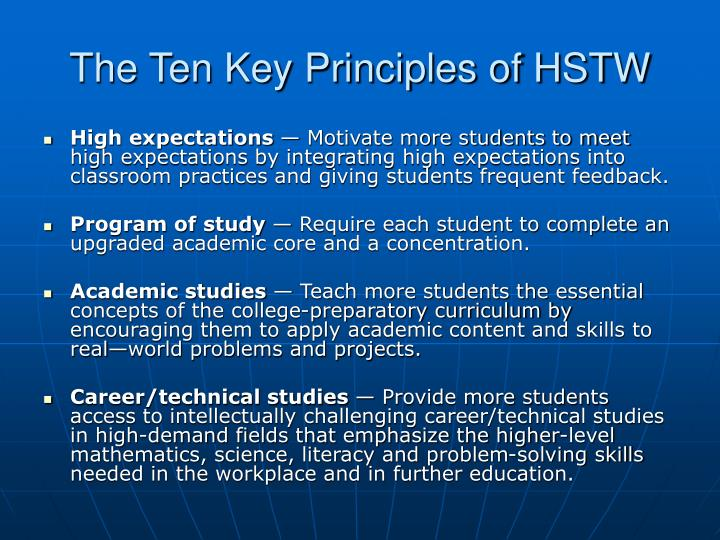 The Ten Key Principles of HSTW