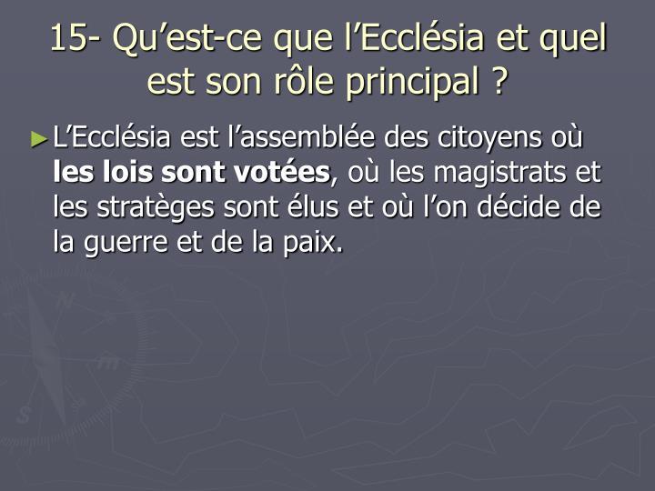 15- Qu'est-ce que l'Ecclésia et quel est son rôle principal ?