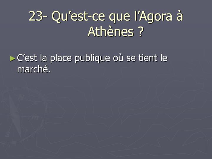 23- Qu'est-ce que l'Agora à Athènes ?