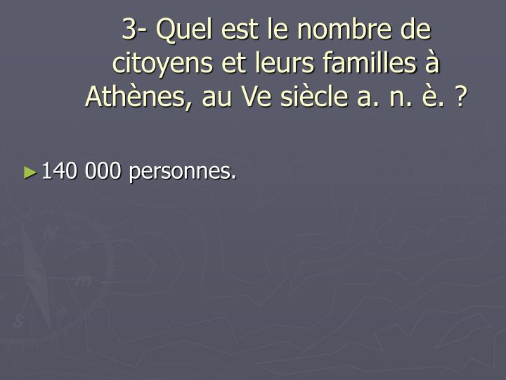 3- Quel est le nombre de citoyens et leurs familles à Athènes, au Ve siècle a. n. è. ?