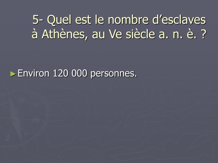 5- Quel est le nombre d'esclaves à Athènes, au Ve siècle a. n. è. ?