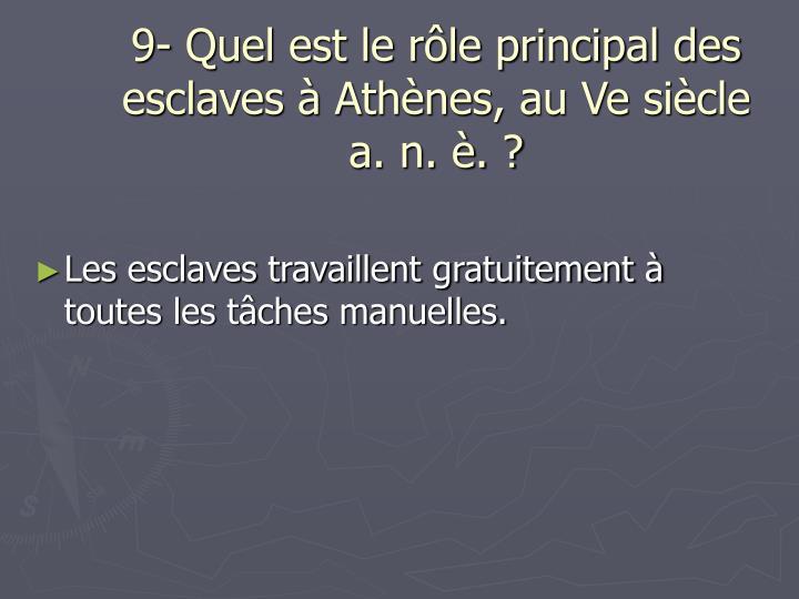 9- Quel est le rôle principal des esclaves à Athènes, au Ve siècle a. n. è. ?