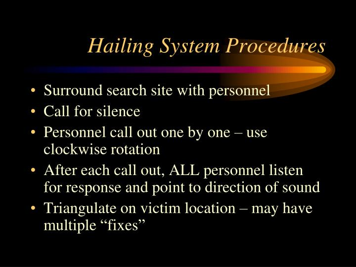 Hailing System Procedures