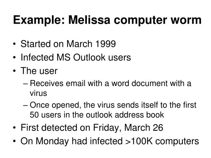 Example: Melissa computer worm