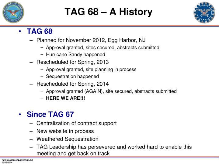 TAG 68 – A History