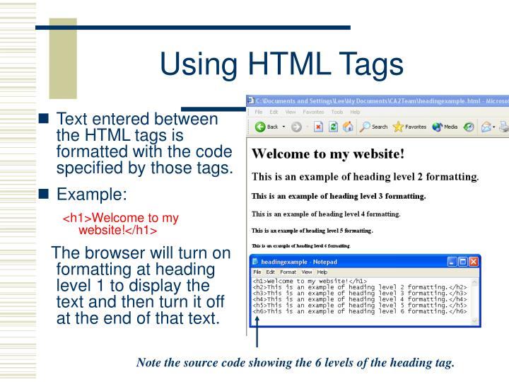 Using HTML Tags