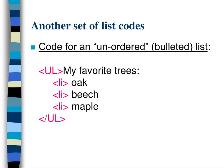 Another set of list codes