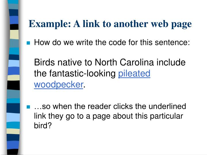 Example: A link to another web page