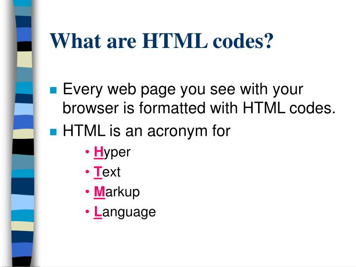 What are HTML codes?