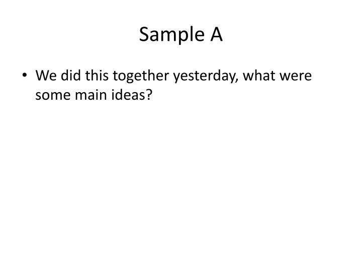 Sample A
