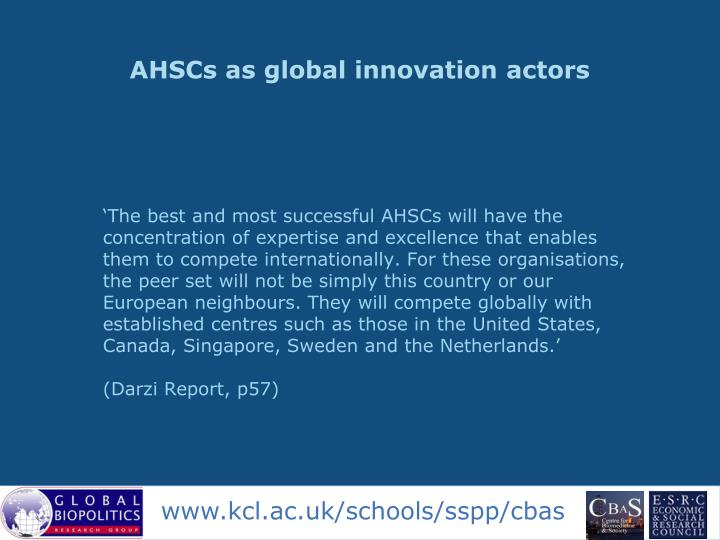 AHSCs as global innovation actors