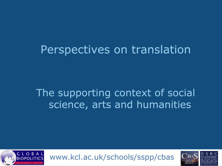 Perspectives on translation