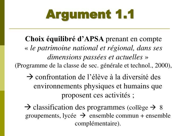 Argument 1.1