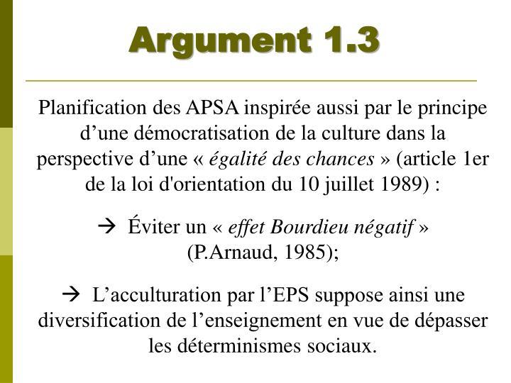 Argument 1.3