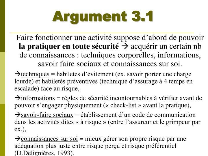 Argument 3.1