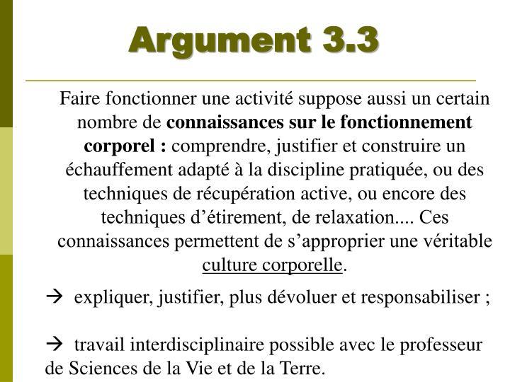 Argument 3.3