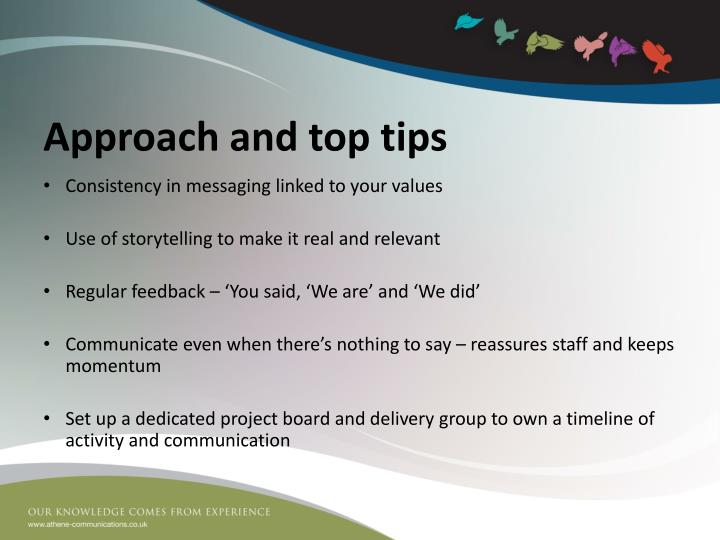 Approach and top tips