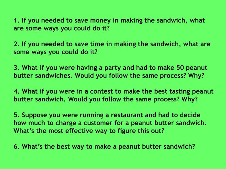 1. If you needed to save money in making the sandwich, what are some ways you could do it?