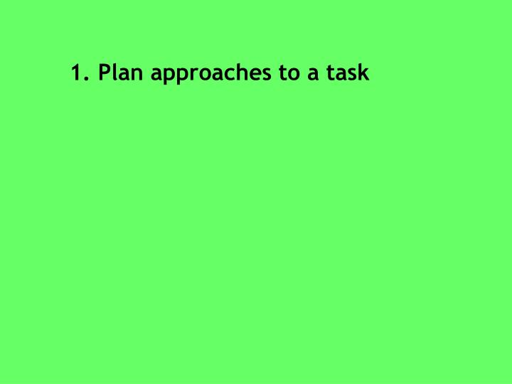 Plan approaches to a task