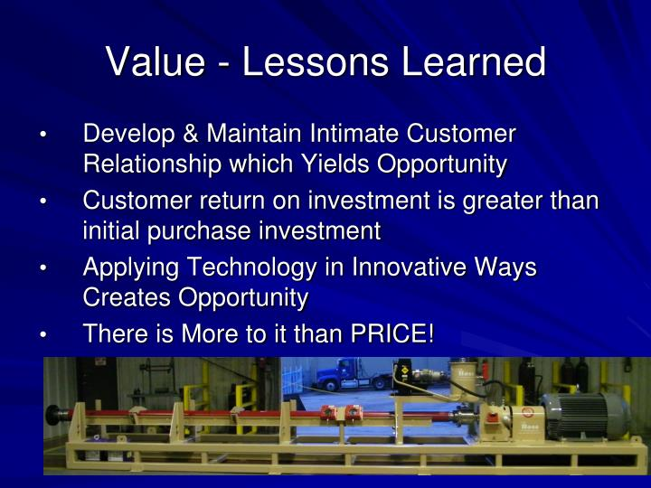 Value - Lessons Learned