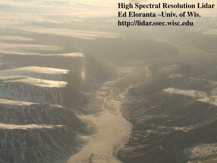 High Spectral Resolution Lidar