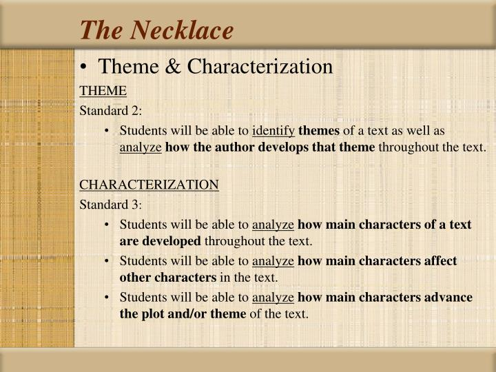 Characterization essay the necklace
