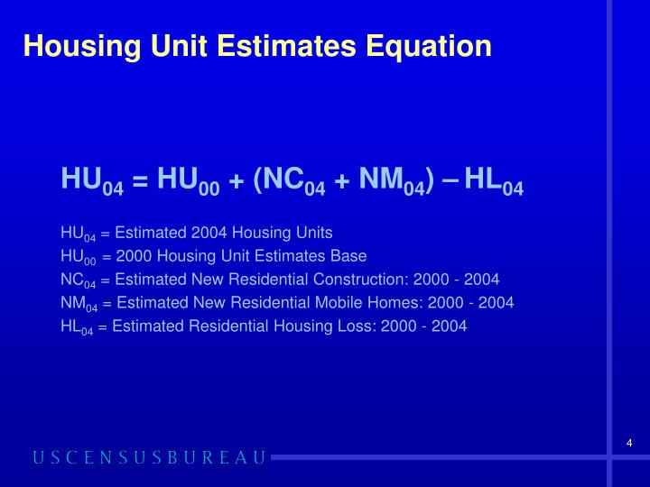 Housing Unit Estimates Equation