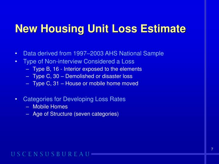 New Housing Unit Loss Estimate
