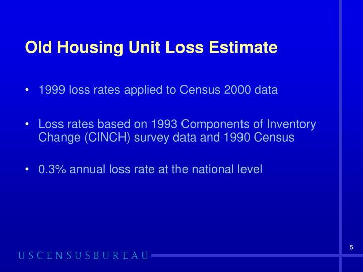 Old Housing Unit Loss Estimate