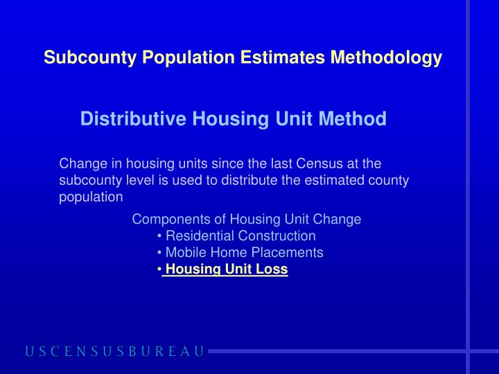Subcounty population estimates methodology