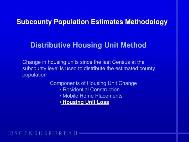 Subcounty Population Estimates Methodology