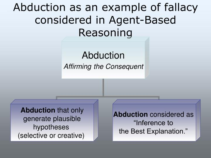 Abduction as an example of fallacy considered in Agent-Based Reasoning