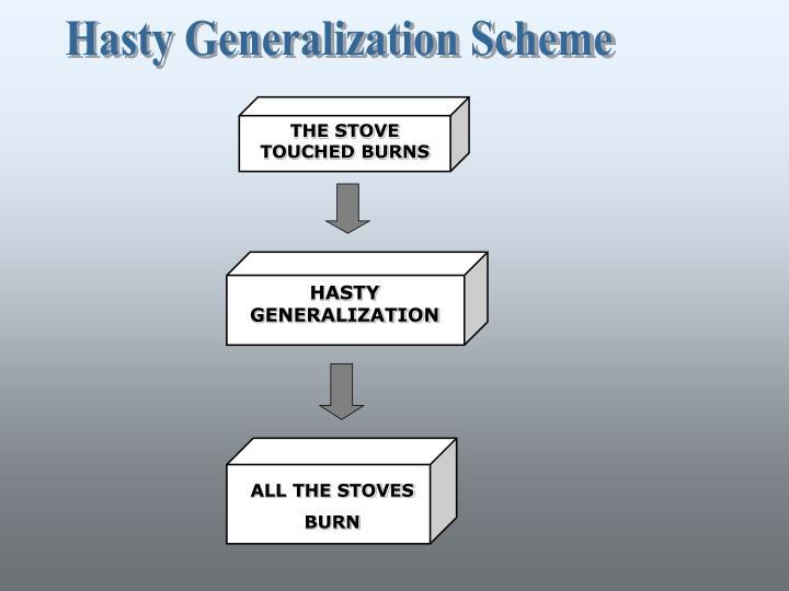 Hasty Generalization Scheme