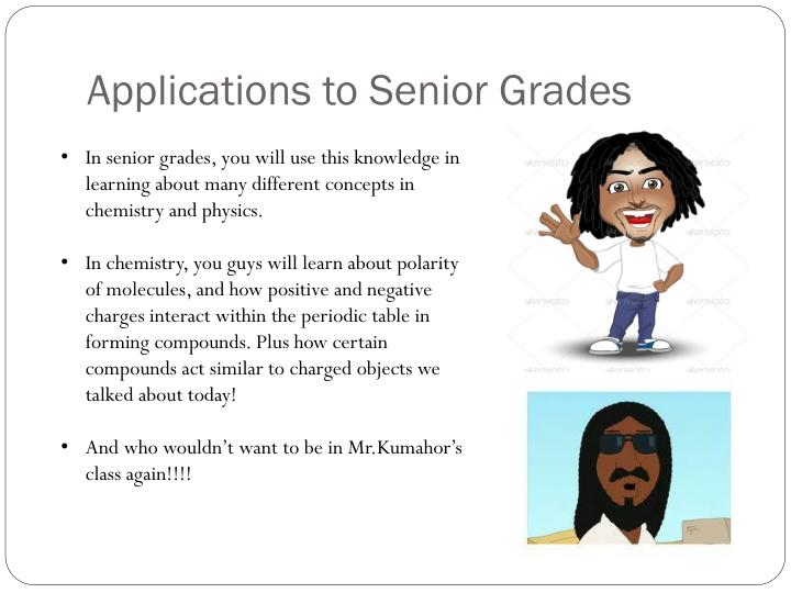 Applications to Senior Grades