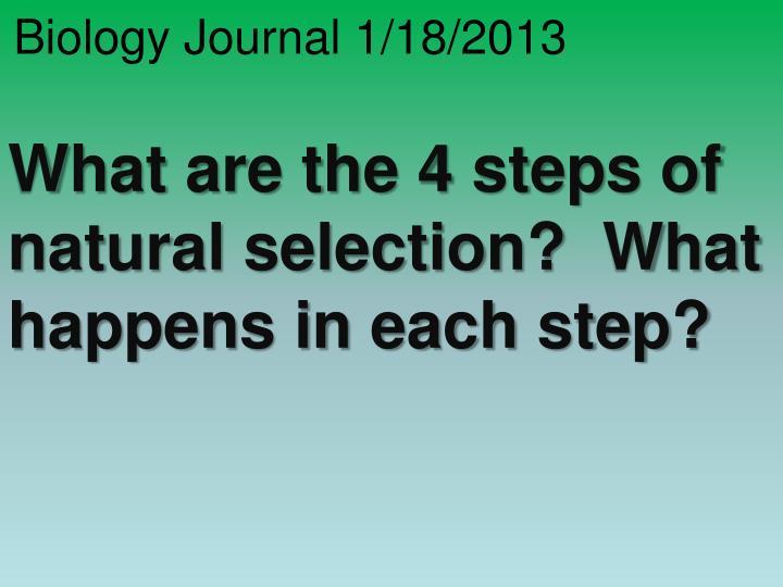 Biology Journal 1/18/2013