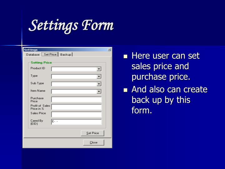 Settings Form