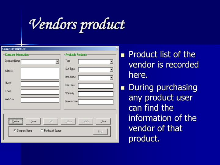 Vendors product