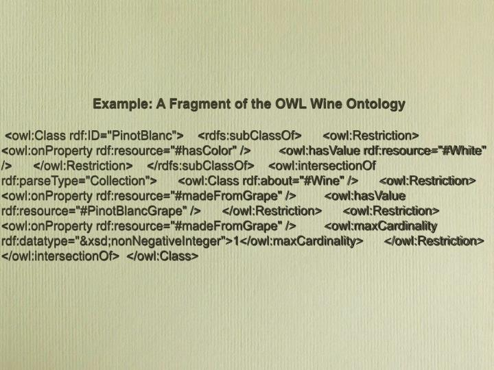 Example: A Fragment of the OWL Wine Ontology