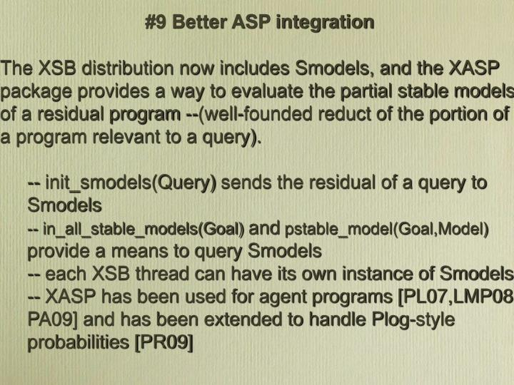 #9 Better ASP integration