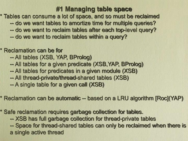 #1 Managing table space