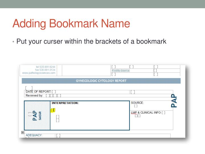 Adding Bookmark Name