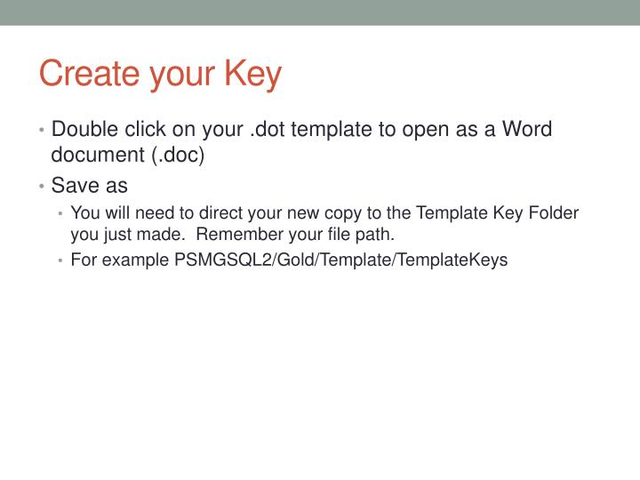 Create your Key