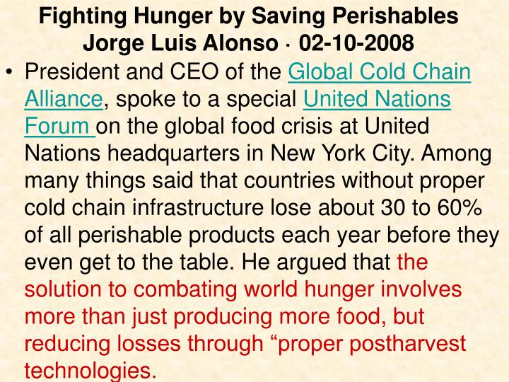 Fighting Hunger by Saving Perishables