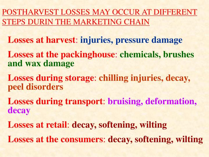 POSTHARVEST LOSSES MAY OCCUR AT DIFFERENT STEPS DURIN THE MARKETING CHAIN